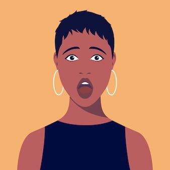Młoda afrykańska zaskoczona kobieta z krótkimi włosami i kolczykami. portret zdumiony afrykańskiej kobiety. awatar przerażonej dziewczyny. streszczenie portret kobiety, całą twarz. ilustracja w stylu płaski.
