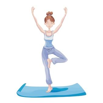 Młoda atrakcyjna kobieta praktykuje jogę, stojąc na jednej nodze. ćwiczenie vrikshasana, pozy drzewa. , na białym tle.