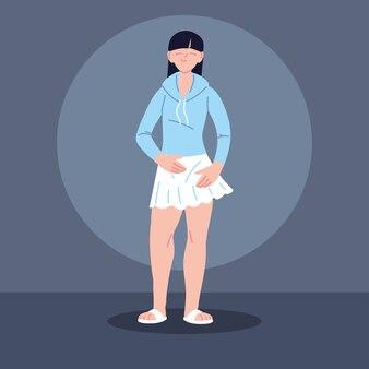 Młoda azjatykcia kobieta ubrana na co dzień