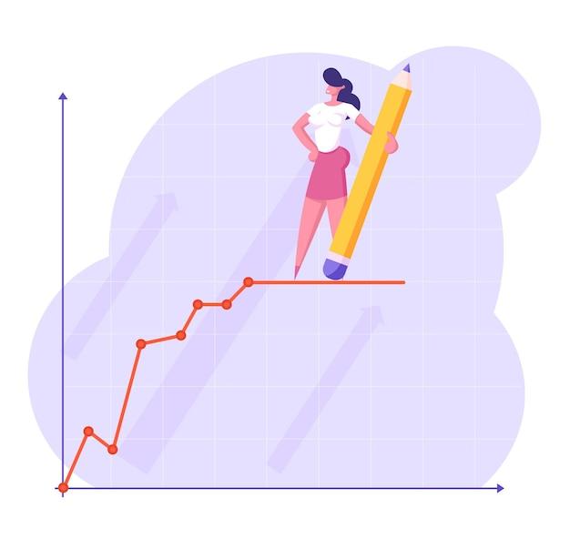 Młoda biznesowa kobieta z ogromnym ołówkiem w ręku stoi na szczycie wzrostu finansowego