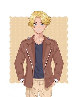 Młoda blond chłopiec postać