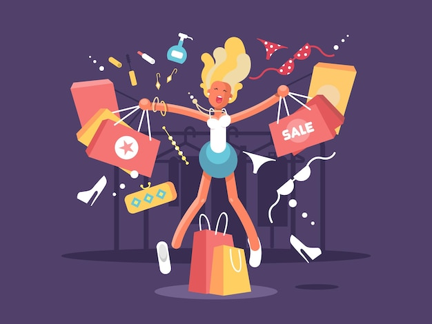 Młoda blondynka idzie na zakupy. szczęśliwa kobieta z zakupowymi torbami. ilustracja wektorowa