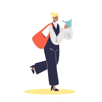 Młoda businesswoman robienia notatek w pośpiechu do pracy w biurze lub do studiowania ilustracji