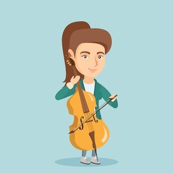 Młoda caucasian kobieta bawić się wiolonczelę.