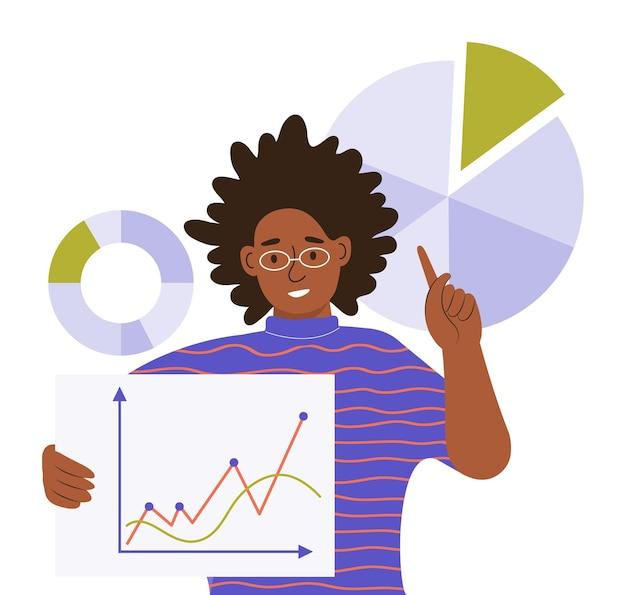 Młoda czarna kobieta pokazuje harmonogramy pracy i diagramy. praca z big data, analiza i audyt procesów biznesowych. analityka, zarządzanie i wielozadaniowość. ilustracja wektorowa płaski kolor