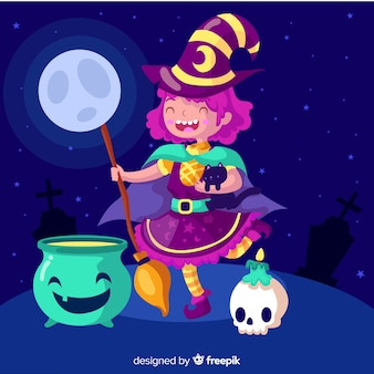 Młoda czarownica rzucająca czary na halloween