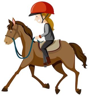 Młoda dama jest ubranym hełm lub jeźdza jedzie końską kreskówkę odizolowywającą