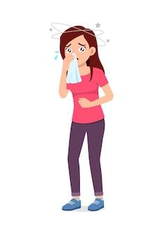 Młoda dobrze wyglądająca kobieta czuje grypę i ból