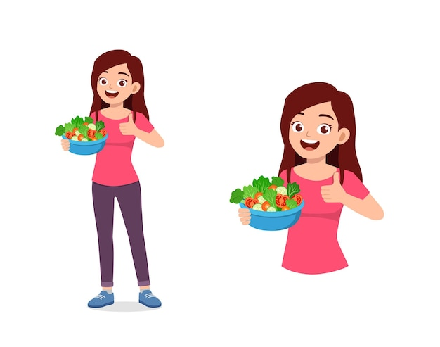 Młoda dobrze wyglądająca kobieta je owoce i warzywa