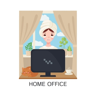 Młoda dorosła śliczna kobieta pracuje w domu z komputerem w mieszkanie stylu odizolowywającym na białym tle.