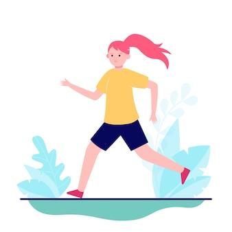 Młoda dziewczyna biega lub jogging na naturze