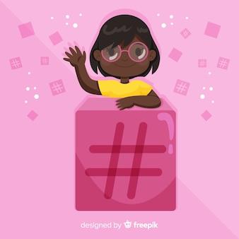Młoda dziewczyna hashtag koncepcja tło