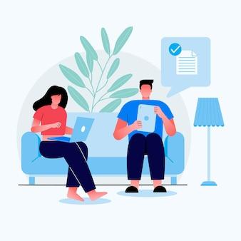 Młoda dziewczyna i chłopak siedzi na kanapie. dziewczyna pracuje w biurze i chłopak wysyła plik do innych za pośrednictwem komputera z kartami.
