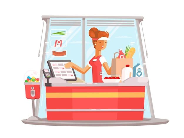 Młoda dziewczyna kasjera. pracownik supermarketu w mundurze. płaska ilustracja