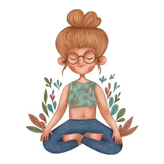 Młoda dziewczyna medytacji ilustracja, ilustracja kolor ołówka