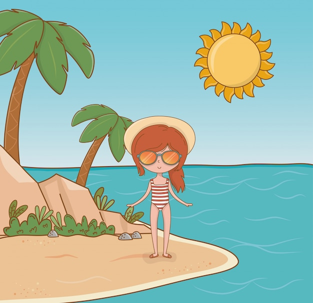 Młoda dziewczyna na plażowej scenie