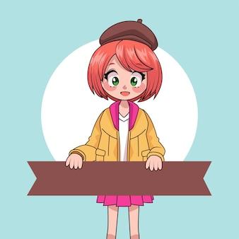 Młoda dziewczyna nastolatka podnoszenia wstążki anime charakter ilustracja