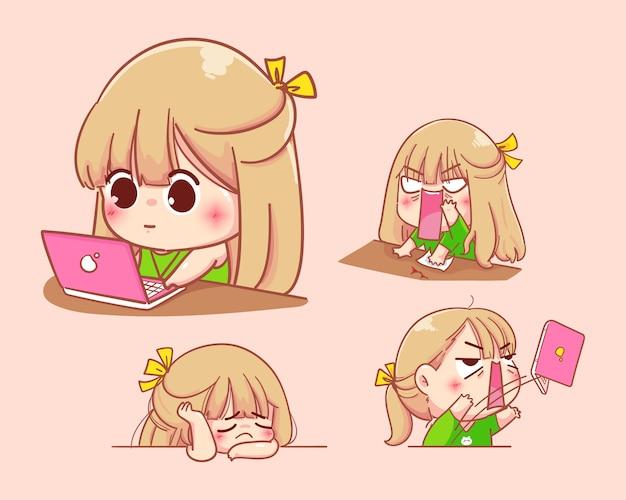 Młoda dziewczyna pracuje na notebooku z różnymi emocjami. ilustracja kreskówka zestaw