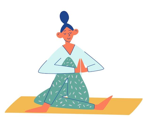 Młoda dziewczyna robi jogę na macie. kobieta medytuje. ćwiczenia jogi. dziewczyna siedzi w pozie medytacji pod dywanem. zostań w domu. zdrowy tryb życia. płaskie wektor ilustracja kreskówka na białym tle