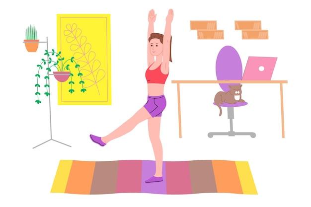 Młoda dziewczyna robi sportowe ćwiczenia fizyczne, treningi w domu i fitness w domu podczas kwarantanny i prowadzi zdrowy tryb życia. ilustracja wektorowa płaski. ludzie, mężczyźni i kobiety, wykorzystujący dom jako siłownię.