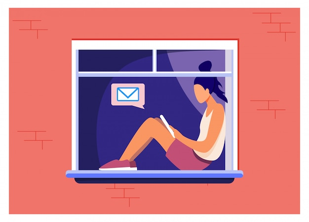 Młoda dziewczyna siedzi na oknie z tabletem