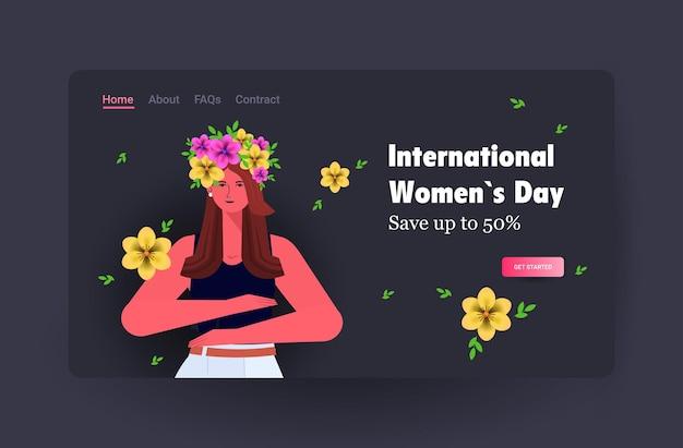 Młoda dziewczyna świętuje międzynarodowy dzień kobiet 8 marca wakacje koncepcja sprzedaży transparent ulotka