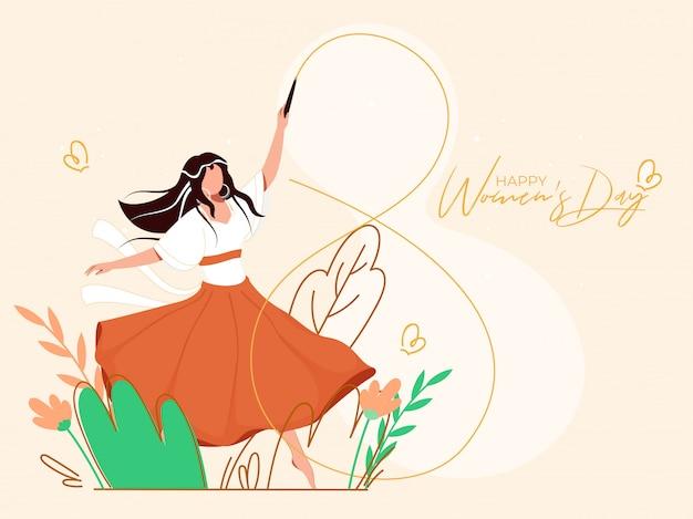 Młoda dziewczyna, tworząc 8 numer z kijem wstążki gimnastyka na kartkę z życzeniami natury