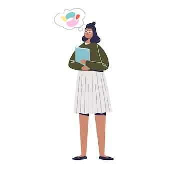 Młoda dziewczyna typu introwertyk z wyobraźnią. śliczna postać z kreskówki o introwertycznym nastawieniu i temperamencie.