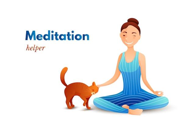 Młoda dziewczyna w jodze lotosu pozuje płaska ilustracja, postać z kreskówki właściciela kota, relaks, równowaga, proces medytacji, trening w domu