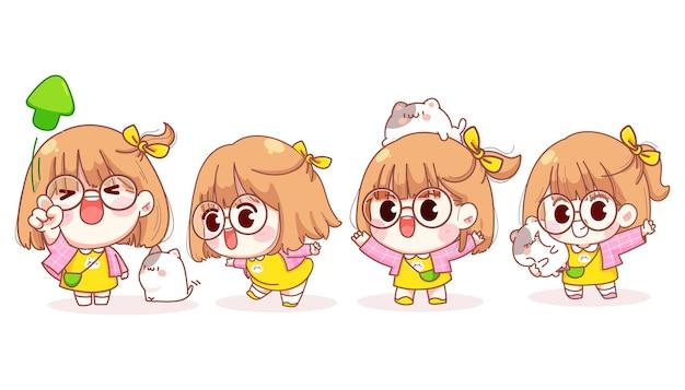 Młoda dziewczyna w różnych gestach jest szczęśliwą ilustracją kreskówki