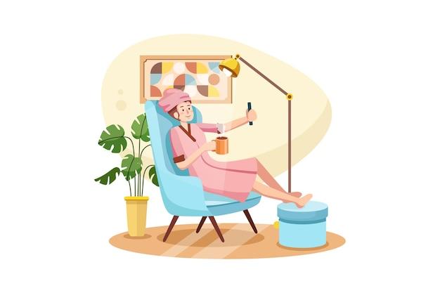 Młoda dziewczyna w swobodnym stylu relaksu strumieniowego online przez smartfona