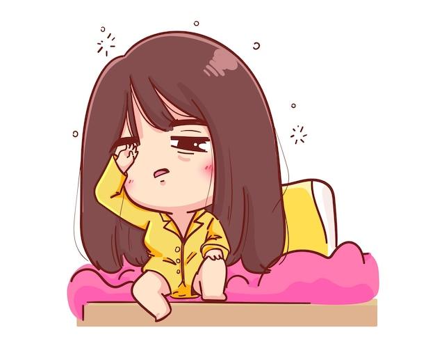 Młoda dziewczyna właśnie obudziła się na porannej ilustracji kreskówki