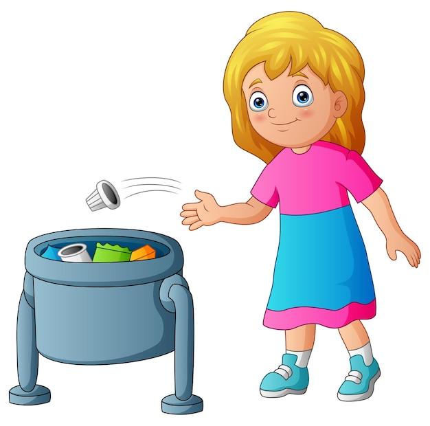 Młoda dziewczyna wyrzuca śmieci do kosza na śmieci