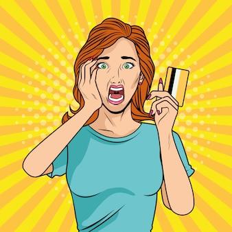 Młoda dziewczyna z charakterem stylu pop-art karty kredytowej