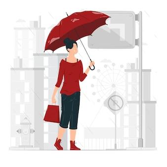 Młoda dziewczyna z czerwonym parasolem w środku ilustracja koncepcja deszczu