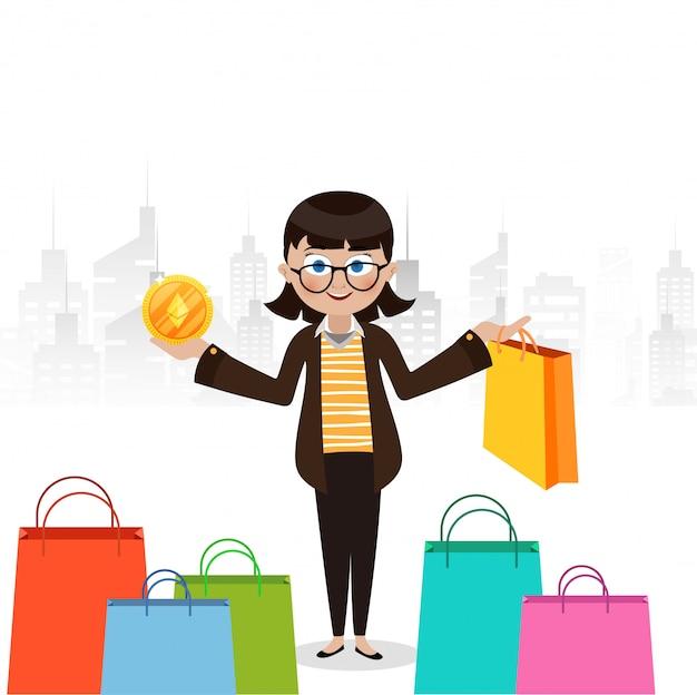 Młoda dziewczyna z ethereum monetą i torba na zakupy w jej ręce