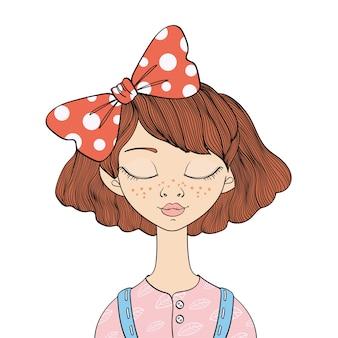 Młoda dziewczyna z zamkniętymi oczami. ilustracja portret, na białym tle.