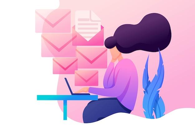 Młoda dziewczyna zajmuje się wysyłaniem wiadomości, pracownik biurowy w pracy. płaski znak 2d. koncepcja de web de