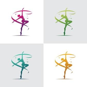 Młoda gimnastyczka kobieta tańczy z logo wstążki
