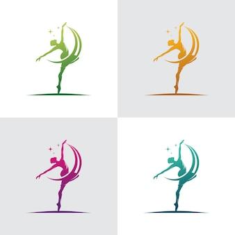 Młoda Gimnastyczka Tańczy Z Logo Wstążki Premium Wektorów