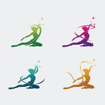 Młoda gimnastyczka tańczy z logo wstążki