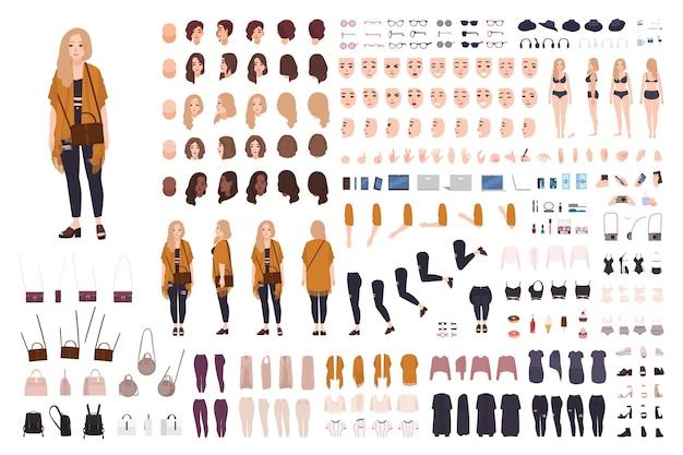 Młoda gruba, krągła kobieta lub konstruktorka w rozmiarze plus size lub zestaw do majsterkowania.