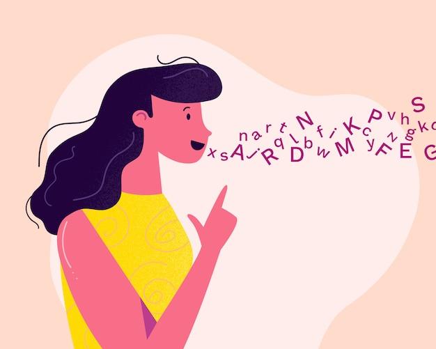 Młoda i przyjazna kobieta-logopedistka wypowiada się podczas sesji leczenia logopedycznego
