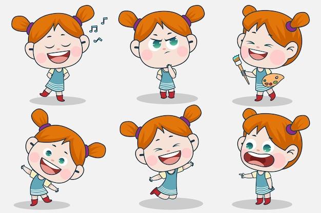 Młoda inteligentna dziewczyna postać z innym wyrazem twarzy i pozami rąk.