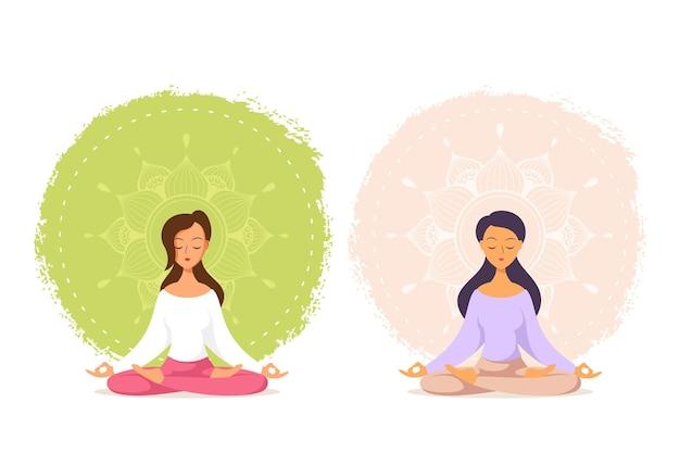 Młoda kaukaska kobieta siedzi w pozie lotosu z mandali design. praktyka jogi i medytacji. płaski styl ilustracja na białym tle