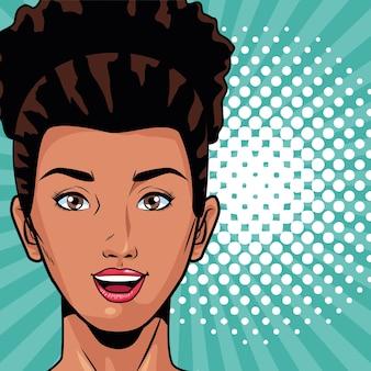 Młoda kobieta afro głowa postać w stylu pop-art wektor ilustracja projekt