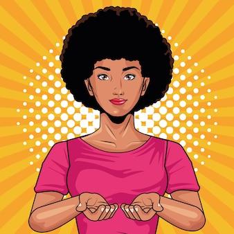 Młoda kobieta afro postać w stylu pop-art wektor ilustracja projekt