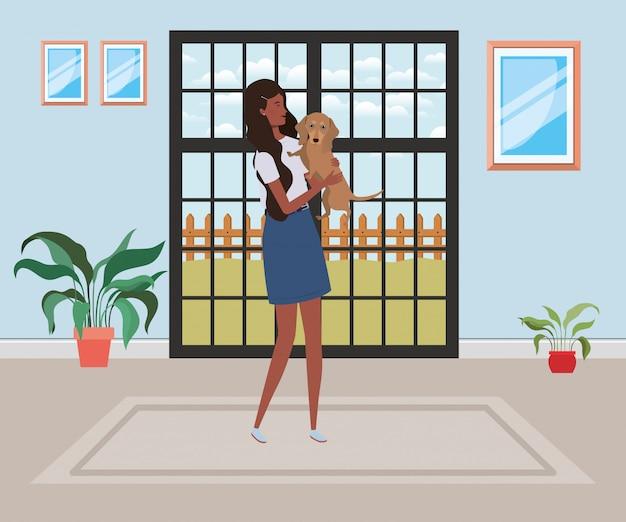 Młoda kobieta afro z ładny pies kryty domu