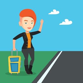 Młoda kobieta autostopem ilustracja.