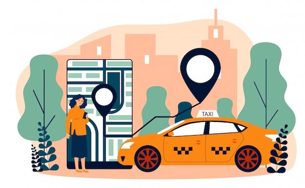 Młoda kobieta bierze taksówkę przez mobilnej app płaskiej wektorowej ilustraci